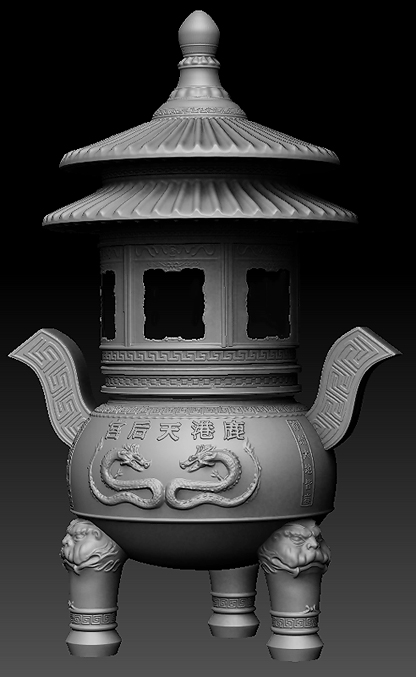 incense burner zbrush render