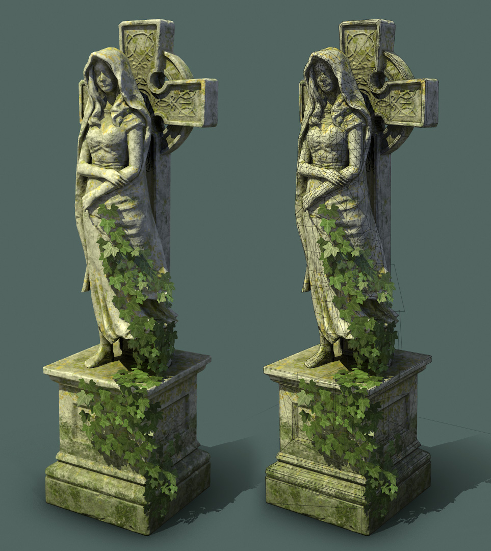 cemetery statue low poly marmoset render
