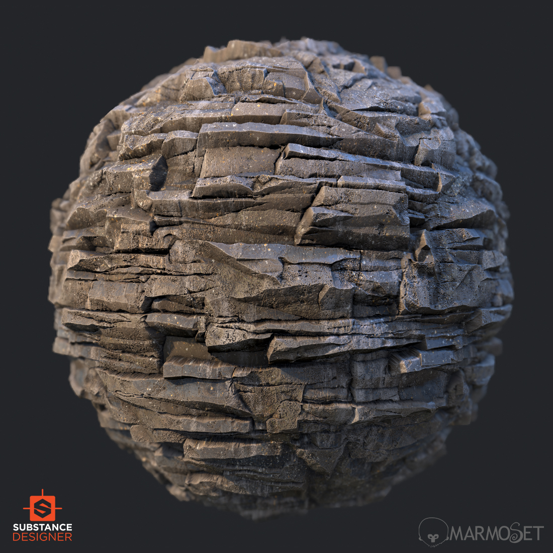 Layered cliff rock substance material ball