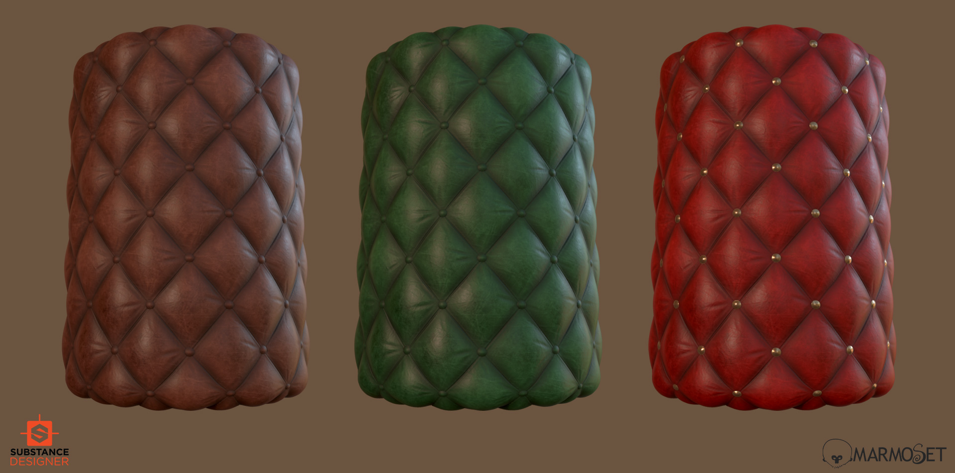 Substance designer buttoned leather